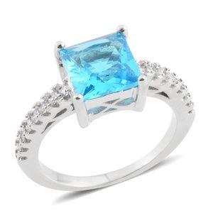 Jewelry - Simulated Neon Apatite, Simulated Diamond Ring